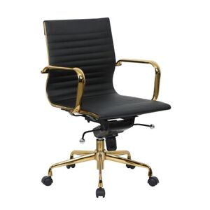 Leisuremod Harris Modern Leatherette Executive Swivel Gold Office Chair In Black