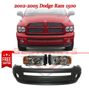 New Front Bumper Cover 3pc Kit W Headlight For 2002 2005 Dodge Ram 1500