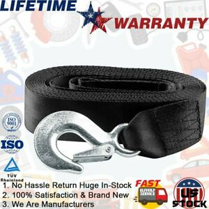 2pcs 2 X20 Black Heavy Duty Winch Strap Extension W safety Snap Hook 10000lbs