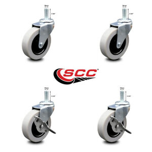 Scc 3 Swvl Thermoplastic Rubber Casters 10mm Threaded Stem Set 4 2 W brakes