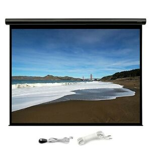 120 Motorized Projector Screen 16 9 Hd White Matte Home Theater W Ir Remote