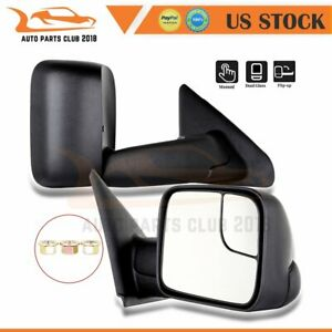 For 2002 09 Dodge Ram 1500 3500 Lh Rh Side Folding Manual Black Towing Mirrors