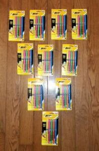 Bic Brite Liner Soft Grip Chisel Tip Assorted Fluorescent Highlighters Lot Of 10