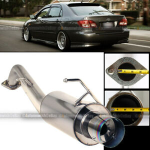 For 03 07 Corolla Stainless Steel Bolt On Axle Back Exhaust Muffler Green Tip