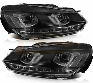 Pair Fits Volkswagen Golf Mk6 2010 2014 Led Drl Headlights Assembly Front Lamp