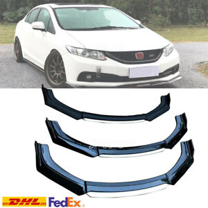 Front Bumper Lip Splitter Gloss Black For 2013 2015 9th Honda Civic Sedan Si
