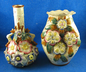TWO English Barbotine Majolica vases with applied flowers leaves Estate