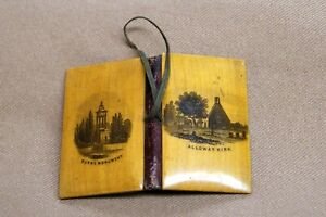 Antique Mauchline Ware Wood Needle Case Sewing Burn S Monument Alloway Kirk Old