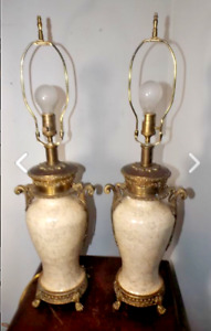 Pair Of Gorgeous Vintage Hollywood Regency Crackle Ceramic Brass Table Lamps
