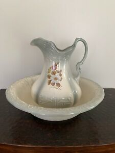 Vintage Ironstone 1890 England Large Pitcher And Wash Basin Gray And Cream