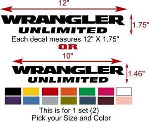 Wrangler Unlimited Jeep Decals Vinyl Sticker Set Qty 2 Pick Size And Color