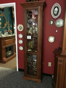 Vintage Tall Lighted Display Case Wood Display Case Slim Tall 6 Display Cabin