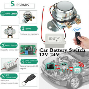 Remote Control Manual Car Battery Disconnect Master Cut Off Shut Switch 180a