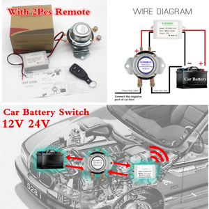 12v 24v Car Battery Switch Manual remote Control Disconnect Latching Relay
