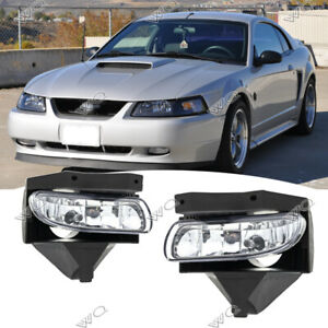 For 1999 2004 Ford Mustang Gt Clear Lens Front Bumper Fog Lights Driving Lamps