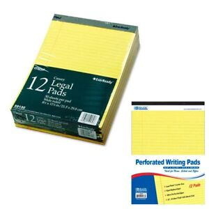 12 Ct Legal Note Pads Wide Ruled Pad Writing 8 5 X 11 Canary Yellow 50 Sheets