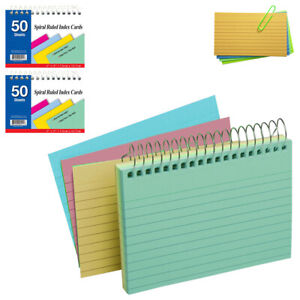 2 Pack Spiral Bound Index Cards 3 X 5 Ruled 50ct Assorted Colors School Office