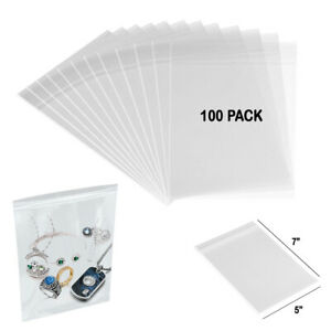 100 Clear Poly Bags 3mil 7 x5 Reclosable Heavy Duty Plastic Small Zipper Baggie