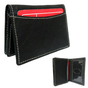 1 Genuine Leather Credit Card Id Business Cards Holder Front Pocket Wallet Black