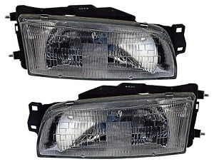 For 1993 1994 1995 1996 Mitsubishi Mirage Sedan Headlights Pair Set
