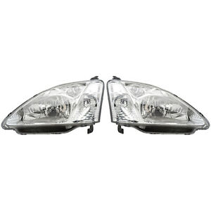 Fits 2001 2003 Honda Civic Head Light Assembly Pair Driver And Passenger Side