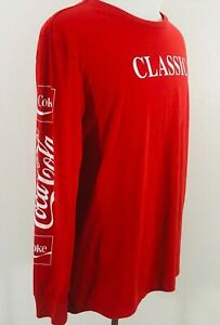 Mens Classic Coca-Cola Long Sleeve Tee T-Shirt Red Size 2XL