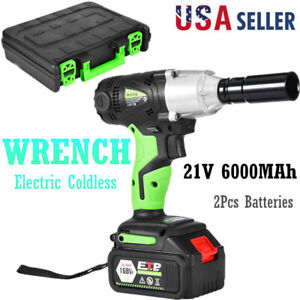 1 2in Cordless Electric Impact Wrench Gun Drill Tool Fast Charger 2 Battery