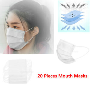 20x Unisex Adults Disposable Mask Mouth Cover Anti spiting Anti Dust Haze White