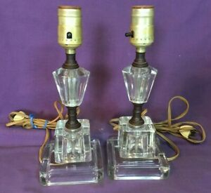 Vintage Matching Pair Of Clear Glass Bedroom Vanity Table Lamps Heavy