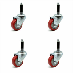 Scc 3 Red Polyurethane Swivel Casters W 3 4 Expanding Stem Set Of 4