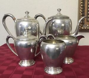 Antique Sterling N S National Silver Co 5 Pc Coffee Teapot Creamer Set 53oz