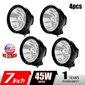 2x 7inch 45w Led Work Light Spot Round Driving Fog Lamp For Offroad Jeep 4wd 4x4