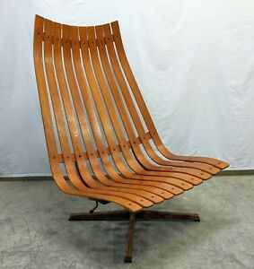 Rare Danish Modern Hans Brattrud Hove Mobler Teak Scandia Swivel Lounge Chair