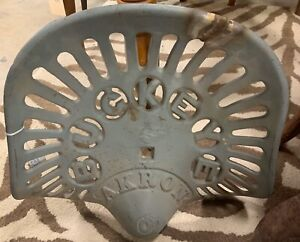 Vintage Antique Cast Iron Metal Buckeye Akron Aultman Miller Co Tractor Seat