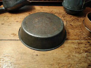 Vintage Old Metal Tin Pan Sieve Strainer Sifter Primitive Farmhouse Kitchen 10