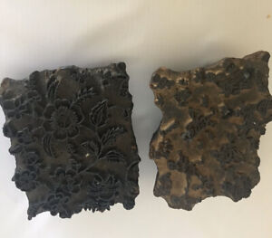 Lot Of 2 Antique Wood Block Hand carved Textile Printing Fabric Wallpaper Stamps