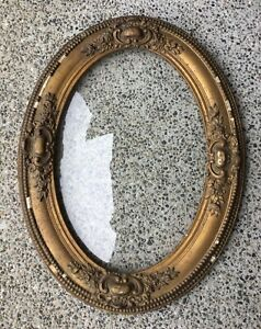 Antique Gold Gilt Gesso Photo Picture Frame Oval Bowed Bubble Glass Wood 18x24