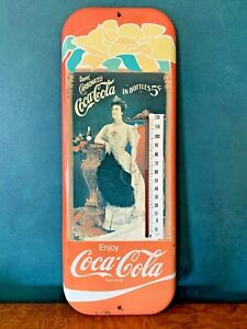 VINTAGE COCA COLA THERMOMETER 1981 MARKATRON VICTORIAN LADY WORKS MADE IN USA