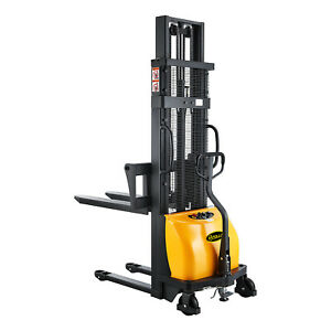 Semi electric Stacker 98 Lift 2200lbs With Adj Forks