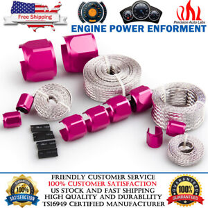 Flex Braid Steel Braided Radiator Heater Hose Line Wire Cover Sleeve Red Ends