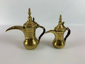 Arabic Islamic Antique Brass Copper Dallah Bedouin Coffee Tea Pot Lot Of 2