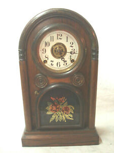 Antique Rosewood Mantel Clock W Painted Stenciled Door Runs Well No Reserve