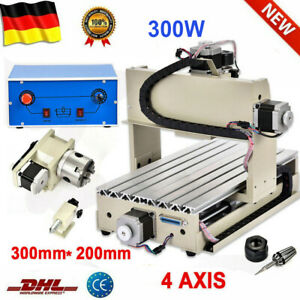 300w 4 Axis Cnc 3020 Router Engraver Drill Mill Machine Artwork Carver Cutter