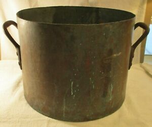 Antique Large Copper Cauldron Pot Handmade Primitive Marked N Y P R N And Jw