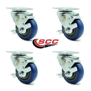 Scc 3 5 X 1 25 Blue Polyurethane Wheel Swivel Casters W brakes Set Of 4