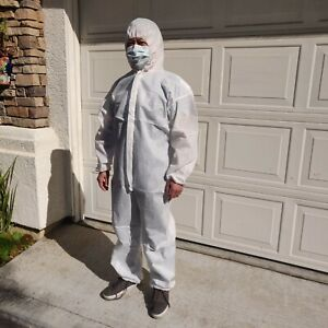 Epic Cleanroom Coverall Zipper Suit Disposable With Hoodie Size Xl White New