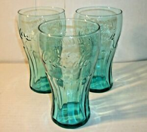 16 oz New Free Shipping Lots OF Genuine Coca-Cola Green Glass Contour Glasses