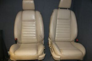 05 06 07 08 09 Ford Mustang Front Seat Set Driver Passenger Tan Leather Power