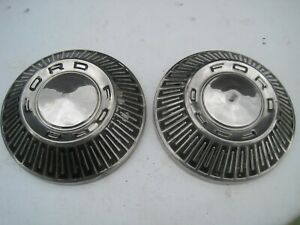 Set Of 2 Vintage 1965 66 67 Ford Galaxie Bronco Dog Dish Hubcaps 10 1 2 Inch