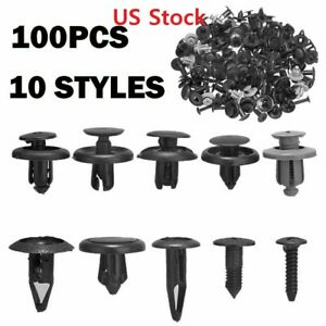 100x Trunk Screw Rivets Bumper Fender For Plastic Fastener Clips
